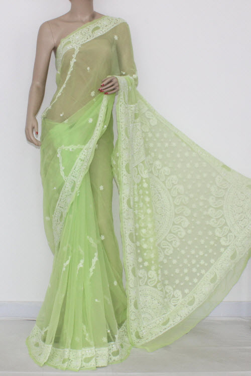 Pista Green Hand Embroidered Lucknowi Chikankari Saree (With Blouse - Georgette) Heavy Pallu 14458