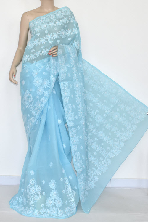 Sky Blue Designer Hand Embroidered Lucknowi Chikankari Saree (With Blouse - Cotton) 14546