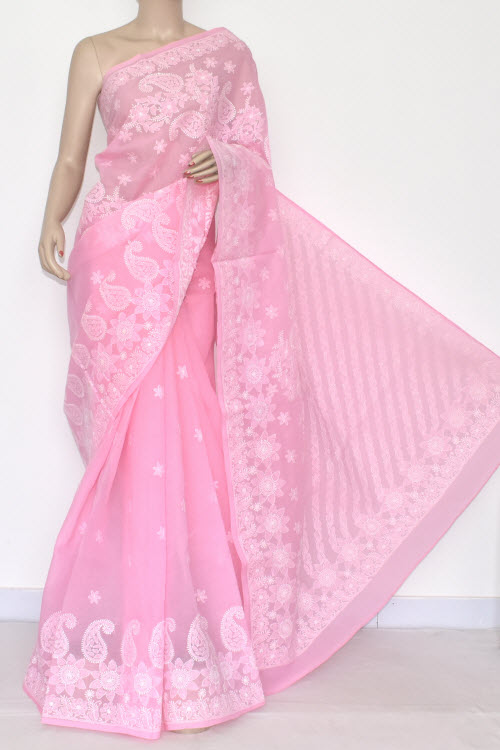 Pink Hand Embroidered Lucknowi Chikankari Saree (With Blouse - Cotton) 14553
