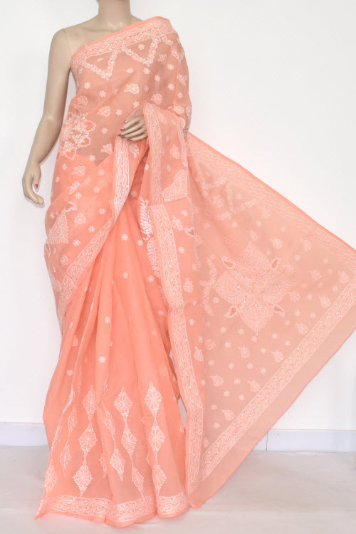 Peach Designer Hand Embroidered Lucknowi Chikankari Saree (With Blouse - Cotton) 14674