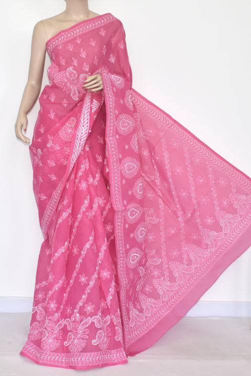 Rani (Dark Pink) Hand Embroidered Lucknowi Chikankari Saree (With Blouse - Cotton) 14676