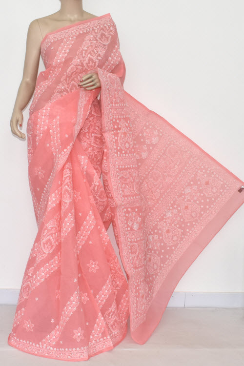 Peach Hand Embroidered Lucknowi Chikankari Saree (With Blouse - Cotton) 14678