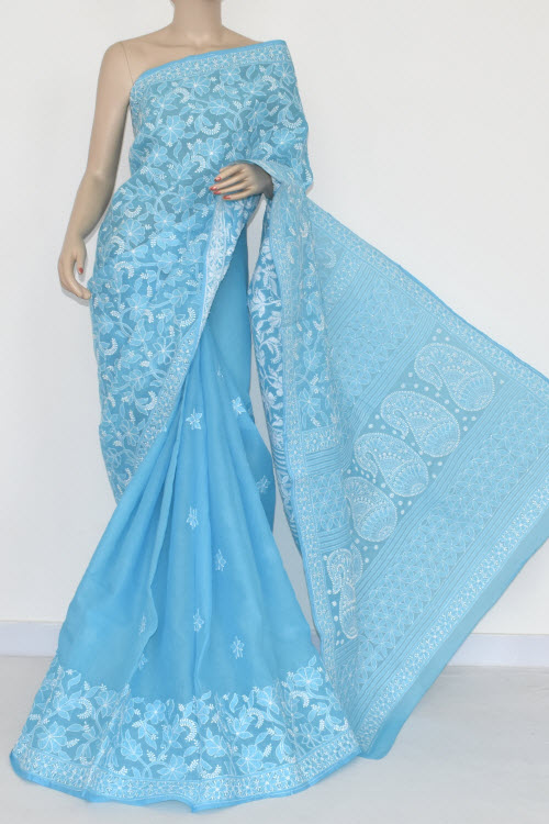 Deep Pherozi Hand Embroidered Lucknowi Chikankari Saree (With Blouse - Cotton) Half Jaal 14679