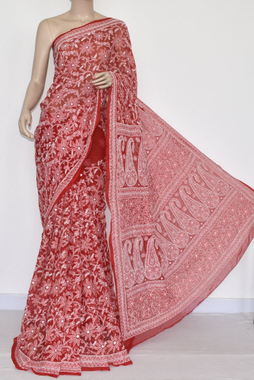 Red Allover Hand Embroidered Lucknowi Chikankari Saree (With Blouse - Georgette) 14690