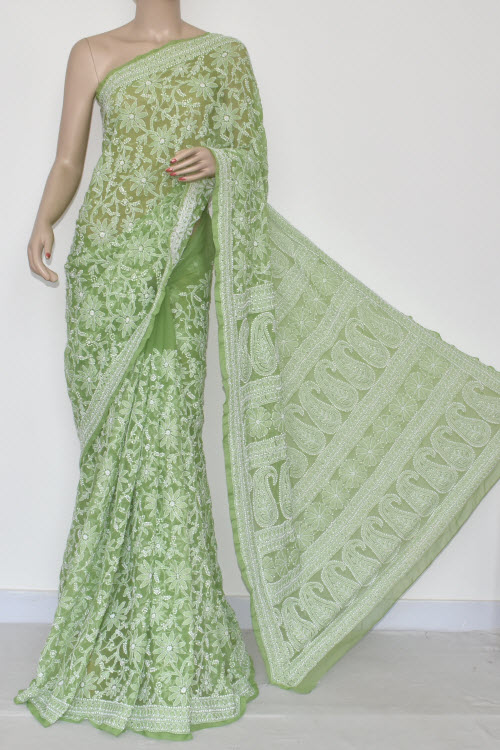 Menhdi Green Allover Hand Embroidered Lucknowi Chikankari Saree (With Blouse - Georgette) 14693