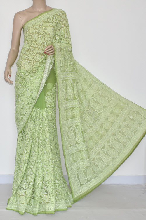 Light Green Allover Hand Embroidered Lucknowi Chikankari Saree (With Blouse - Georgette) 14694