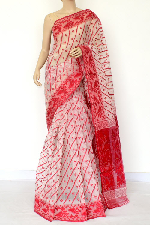 17fea75e79 ... Off-White Red Jamdani Handwoven Bengal Tant Cotton Saree (Without Blouse)  17016