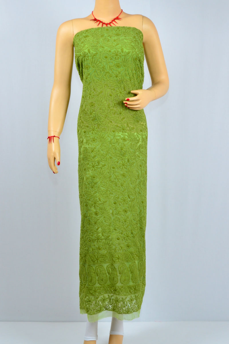 Green Color Hand Embroidered Lucknowi Chikankari Kurti (Georgette) - MCK400012