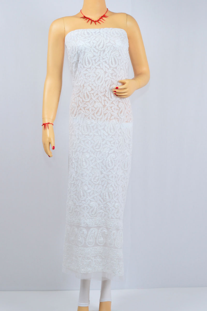 White Color Hand Embroidered Lucknow Chikankari Kurti (Georgette) - MCK400016