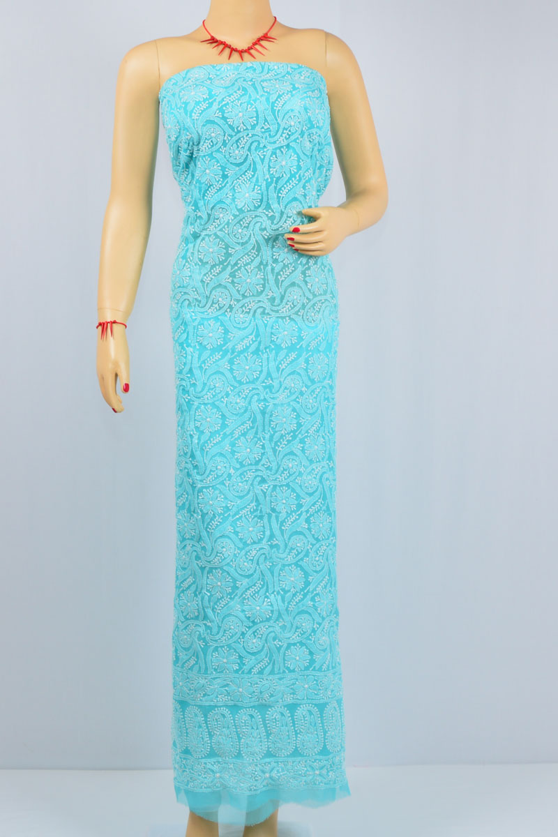 Blue Color Hand Embroidered Lucknowi Chikankari Kurti (Georgette) - MCK400017
