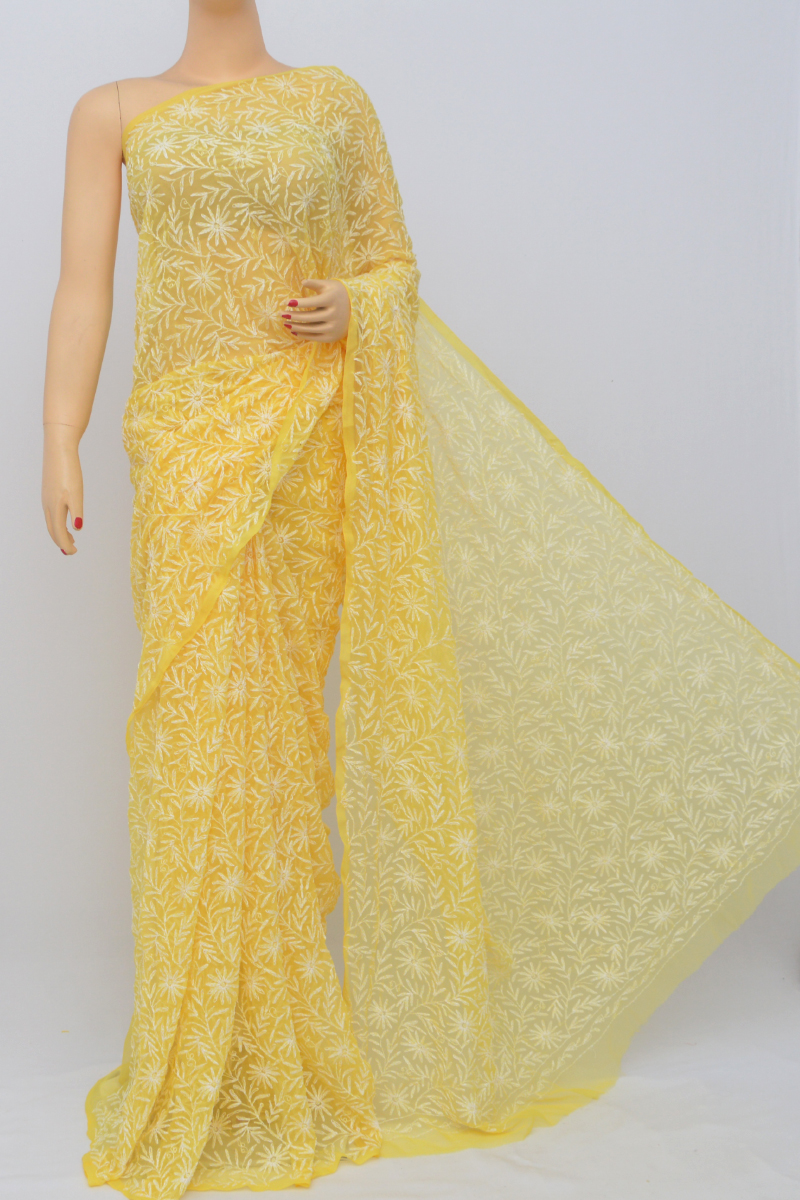 Yellow Color Hand Embroidered Tepchi Work Lucknowi Chikankari Saree (With Blouse - Georgette) MC250520