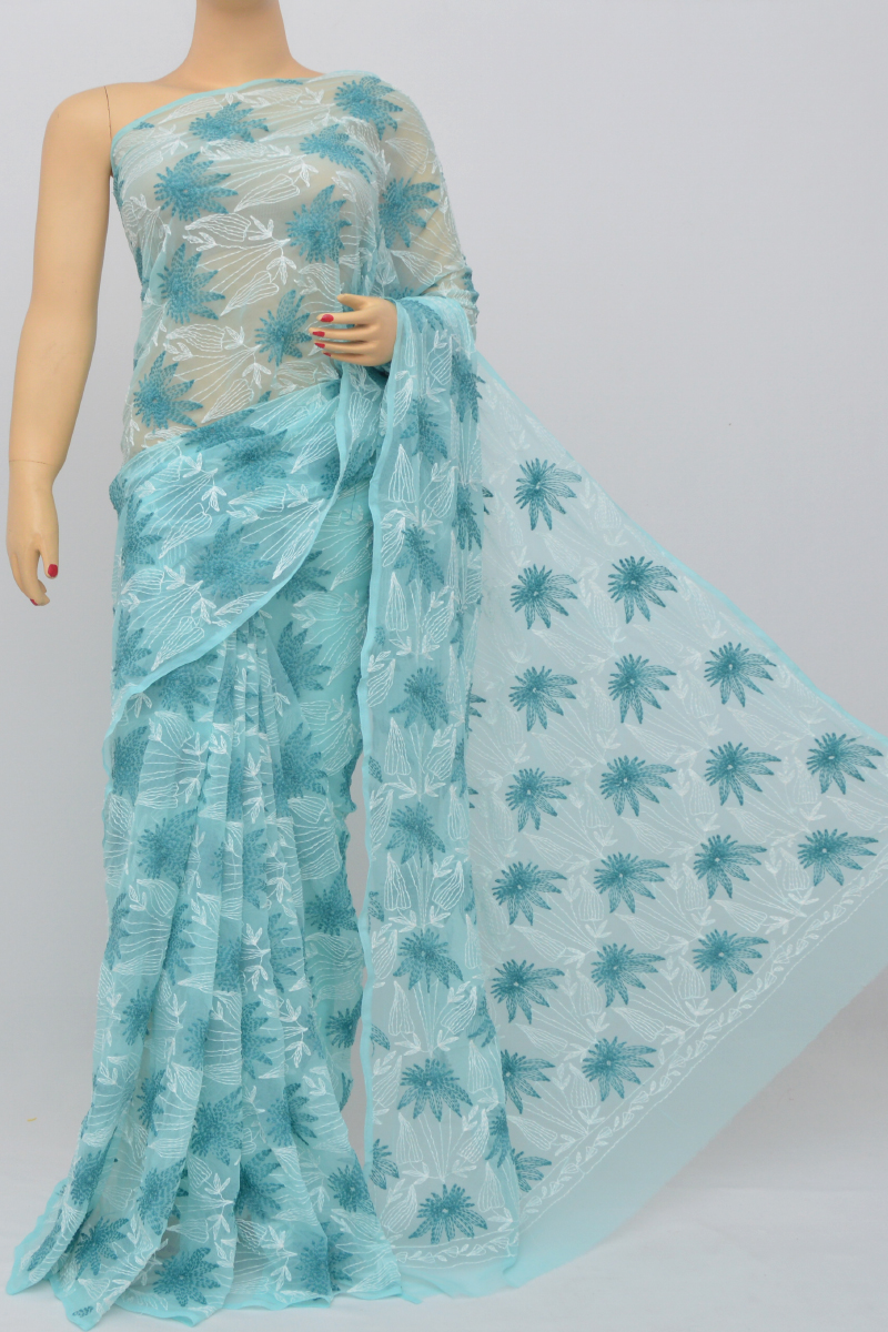 Blue Color Hand Embroidered Tepchi Work Lucknowi Chikankari Saree (With Blouse - Georgette) SS250521