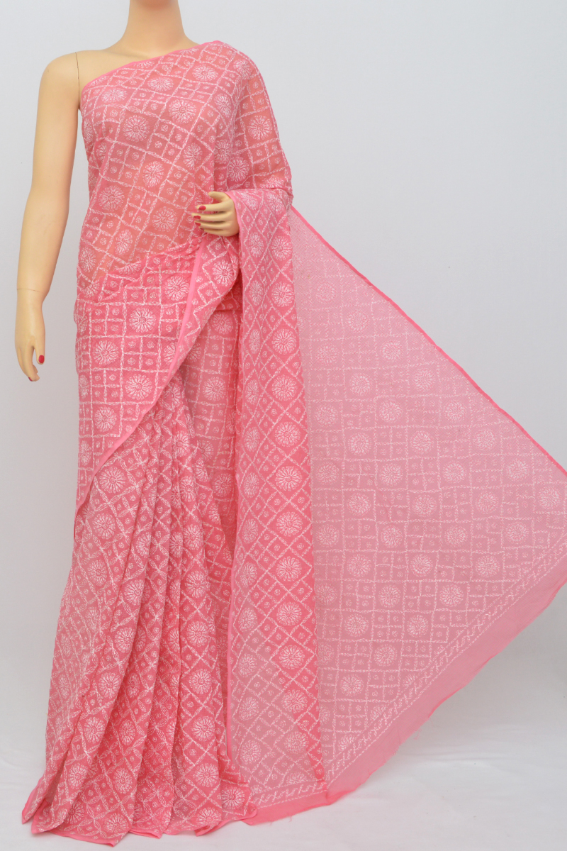 Pink Color Kota Cotton Tepchi Work Hand Embroidered Lucknowi Chikankari Saree (Without Blouse - cotton) MC250522