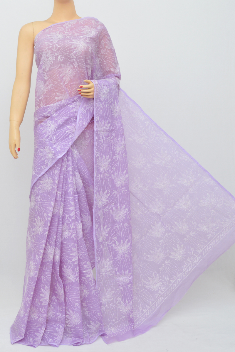Lavender Color Kota Cotton Hand Embroidered Lucknowi Chikankari Saree (Without Blouse - cotton) SS250524