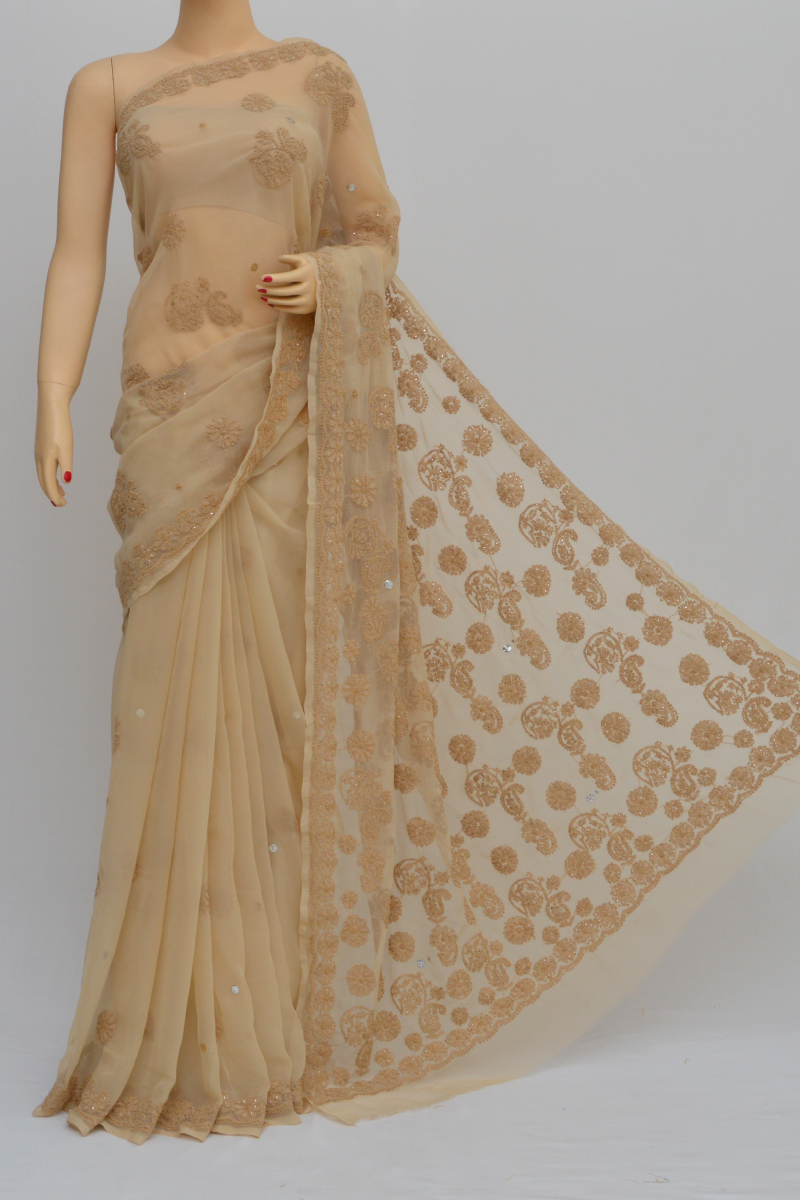 Fawn Colour Hand Embroidered Lucknowi Chikankari Saree (with Blouse - Georgette) Sm250554