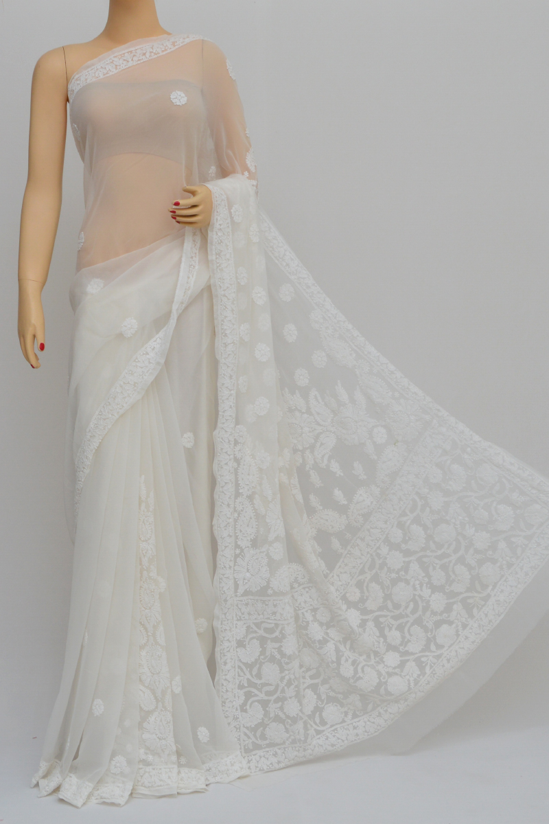 White Color Hand Embroidered Lucknowi Chikankari Saree (With Blouse - Georgette) KC250557