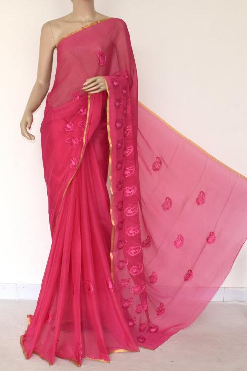 a09067508f Dark Pink Handloom Semi-chiffon Saree (with Blouse) Resham Embroidery 16188