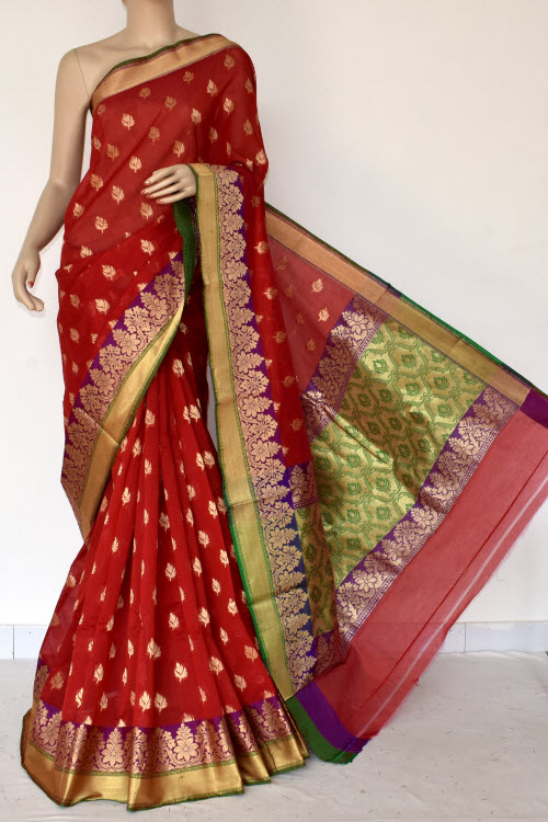 Red Green Handloom Chanderi Cotton Saree (with Blouse) Allover Resham Weaving 16213