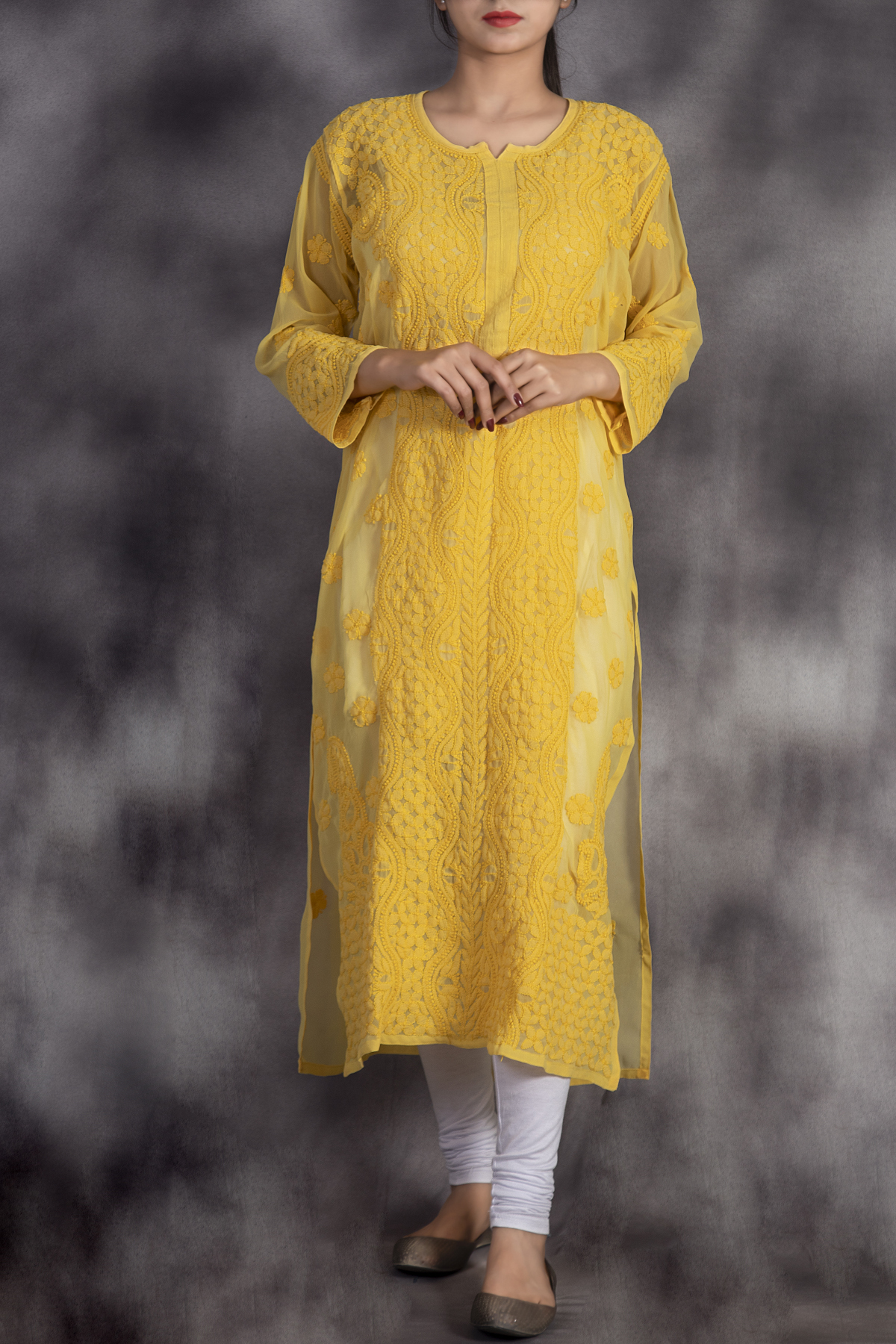 Hand Embroidered Yellow Georgette Lucknowi Chikan Kurti-GA250627