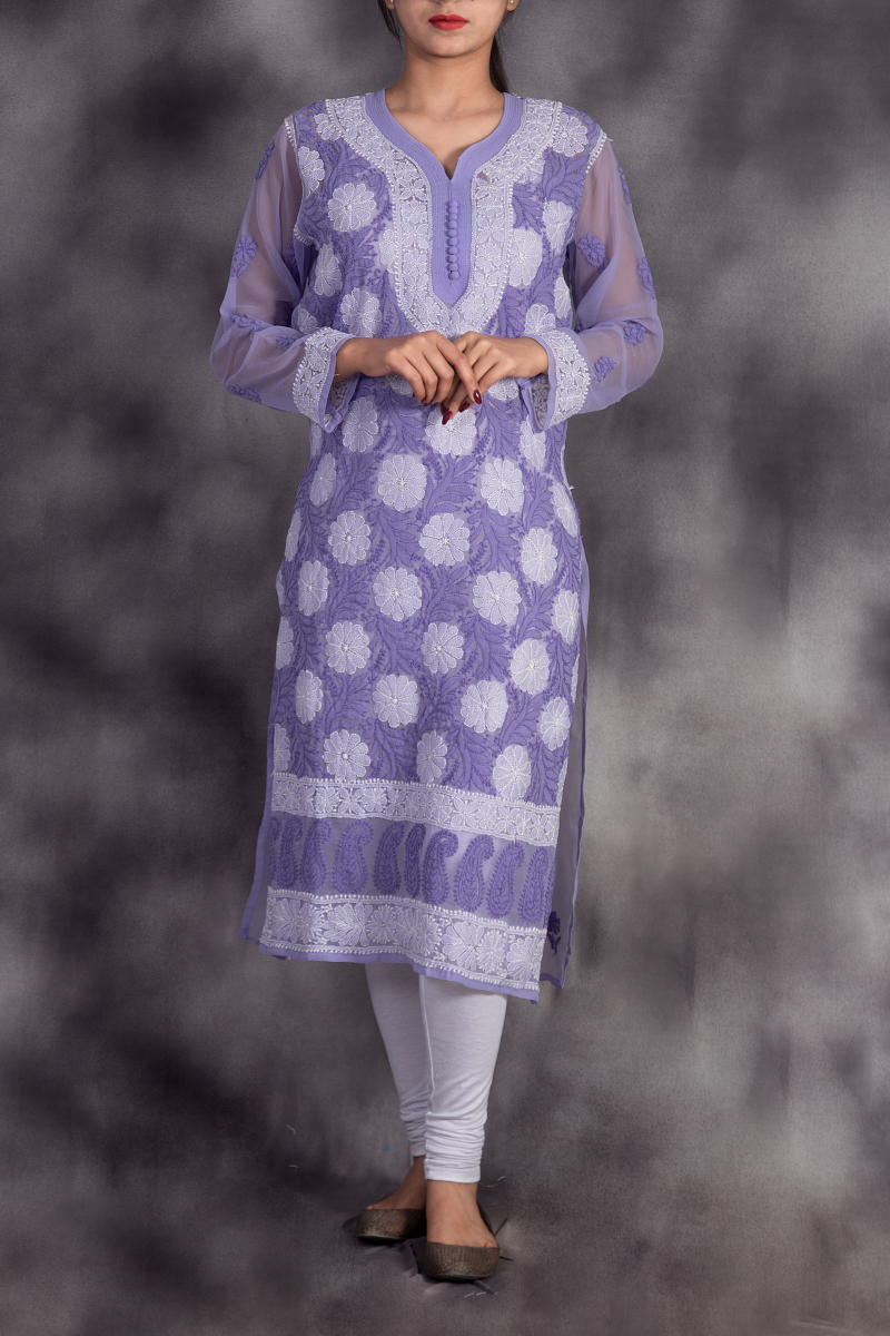 Hand Embroidered Lavender Georgette Lucknowi Chikan Kurti-GA250630