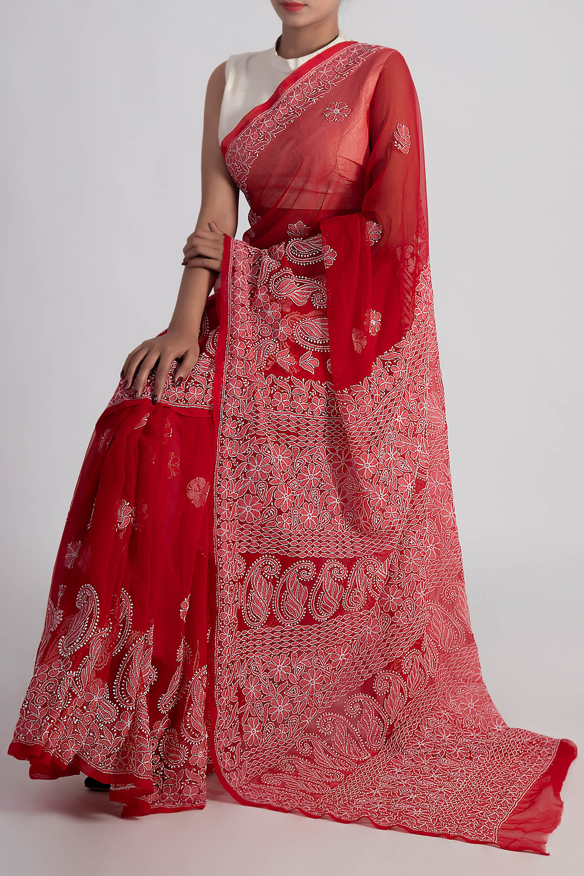 Red Colour Hand Embroidered Designer Lucknowi Chikankari Saree (With Blouse - Georgette) GA250618