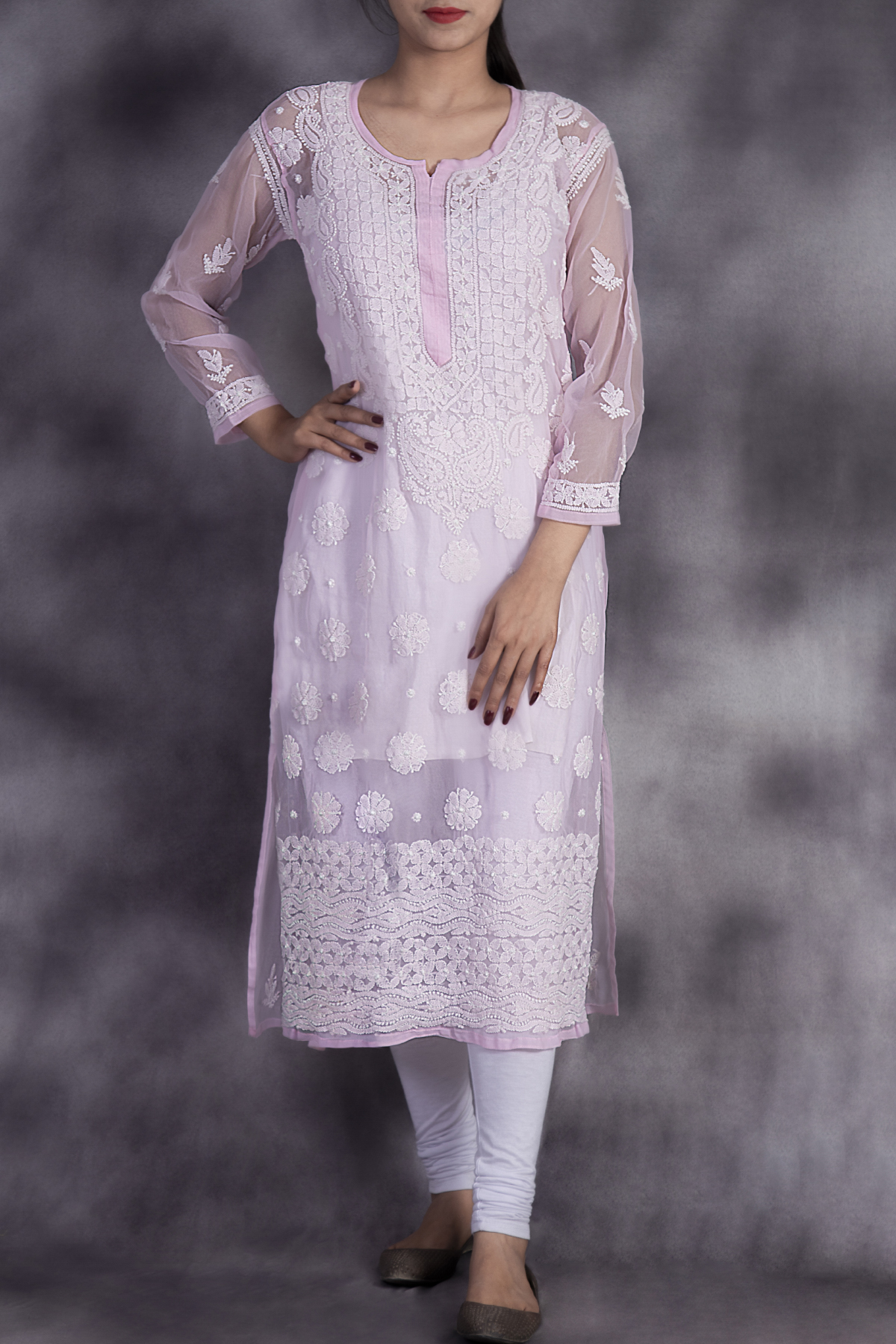 Hand Embroidered Baby Pink Georgette Lucknowi Chikan Kurti-GA250622