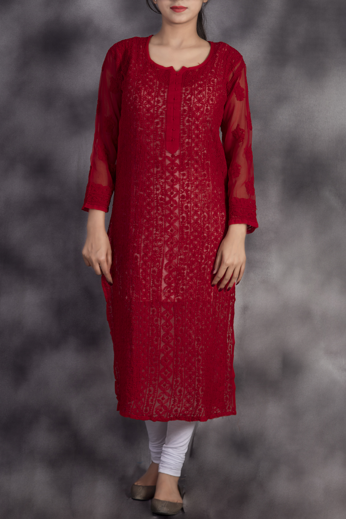 Hand Embroidered Red Georgette Lucknowi Chikan Kurti-GA250624