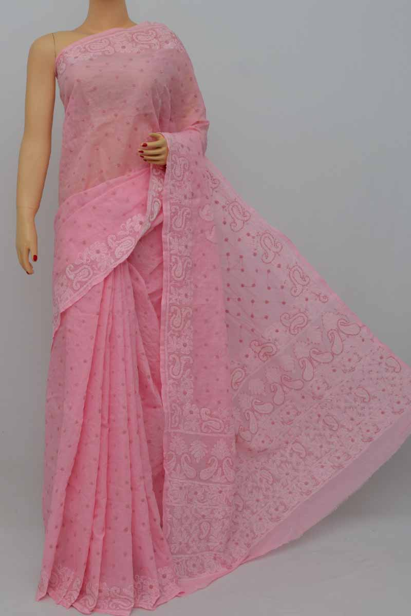 Babypink Color Hand Embroidered Allover Lucknowi Chikankari Saree (With Blouse - Cotton) SS250431