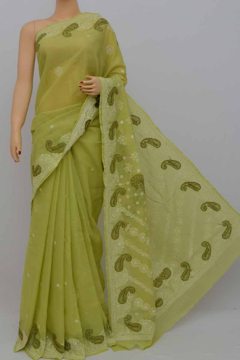 Green Color Hand Embroidered Lucknowi Chikankari Saree (with Blouse - Cotton) Mc250432