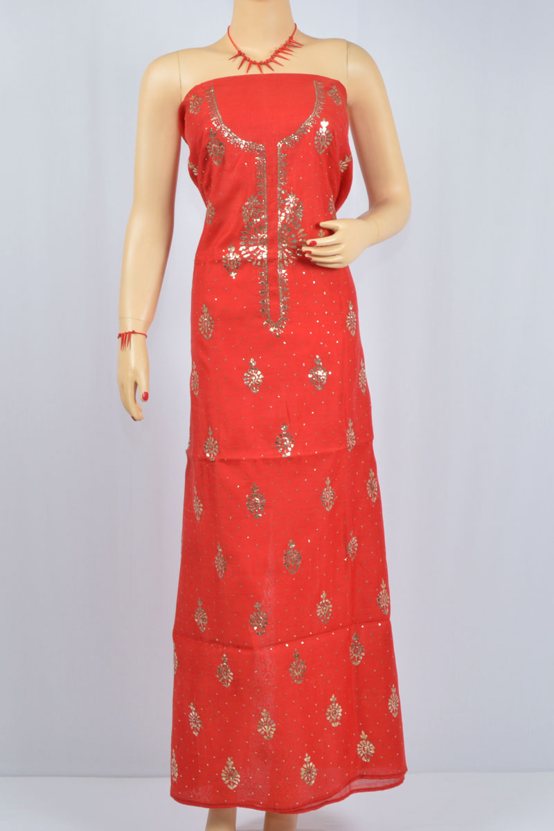 Red Color Mukaish Work Hand Embroidered Lucknowi Chikankari Kurti (Cotton) - MCK400019