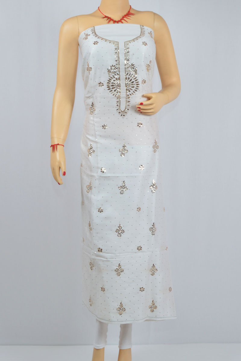 White Color Mukaish work Hand Embroidered Lucknow Chikankari Kurti (Cotton) - MCK400020