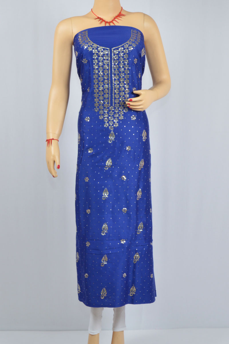 Navy Blue Color Mukaish Work Hand Embroidered Lucknowi Chikankari Kurti (Cotton) - MCK400021