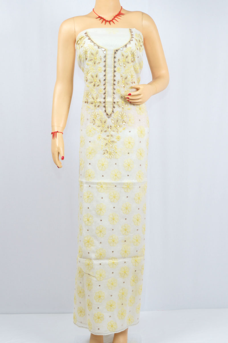 White -Yellow Color Hand Embroidered Lucknowi Chikankari Kurti (Chanderi Cotton) - MCK400024