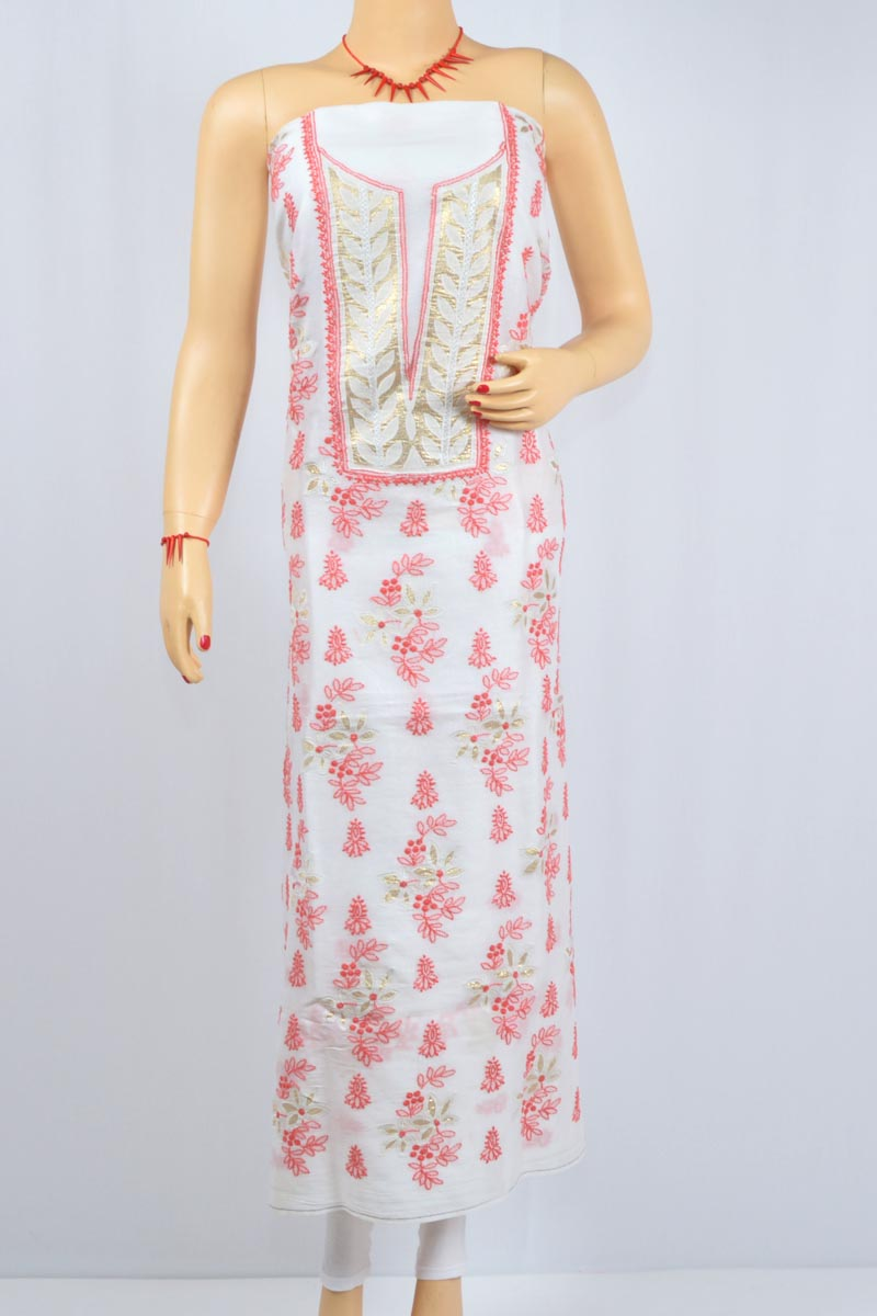 White Color- Red Thread Hand Embroidered Lucknowi Chikankari Kurti (Cotton) - MCK400028