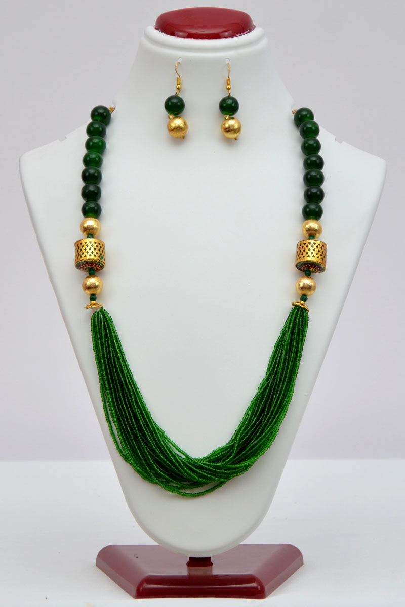 Green Color Pearl Neckpiece With Golden Pearls, Multiple Beaded Chains And With A Set Of Dangle Earrings - Mcj250112