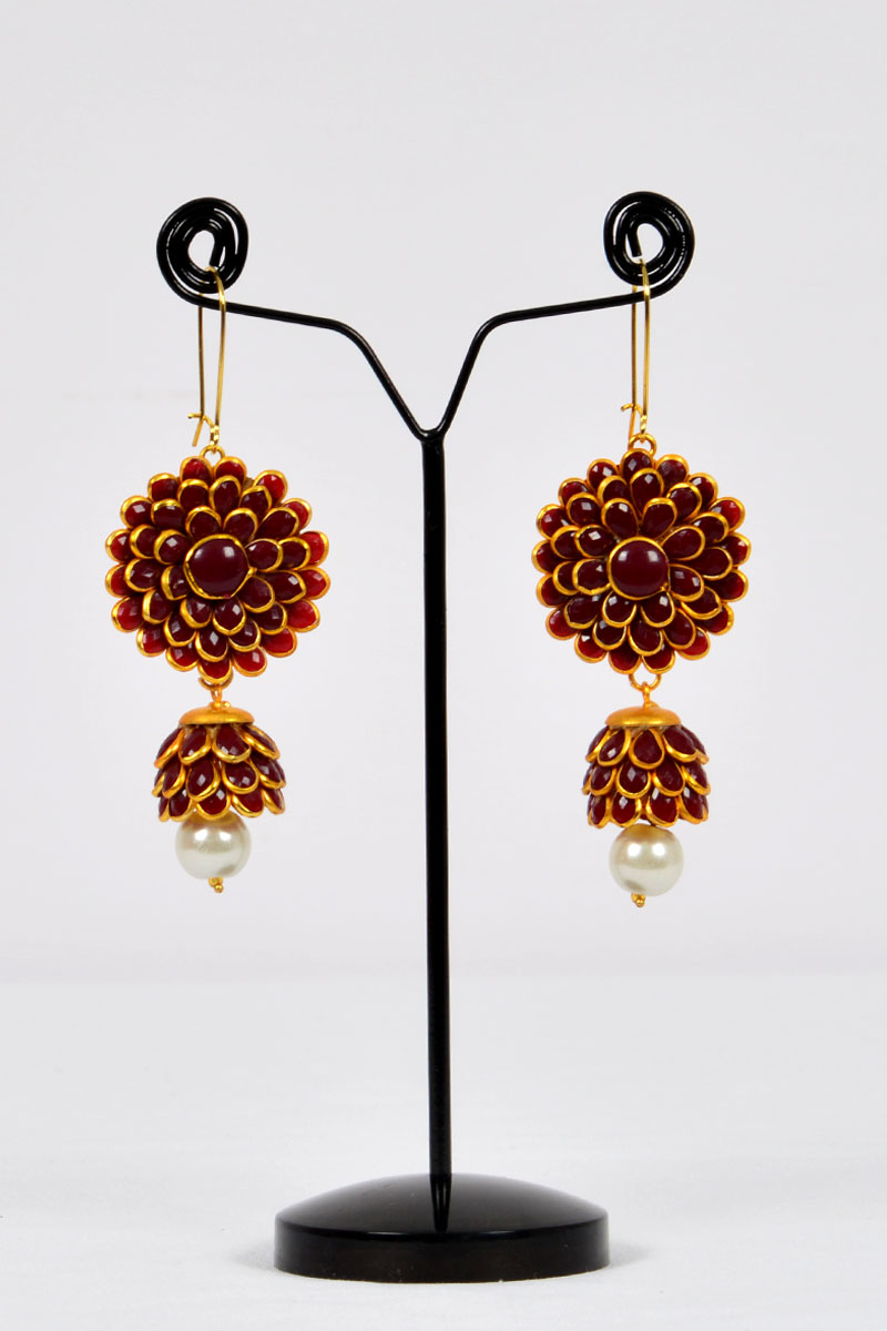 Maroon Color, Sunflower Patter Polkhi  Drop Earrings With Gold Plated Beautifully Highlighted Petals - Mcj250120
