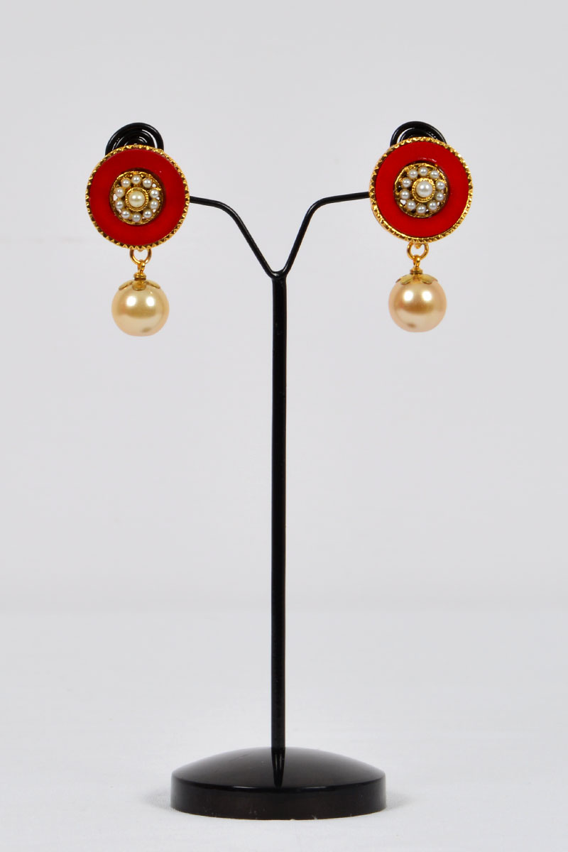 Red Color ,Gold Plated Drop Earrings imitated with small sized pearls - MCJ250121