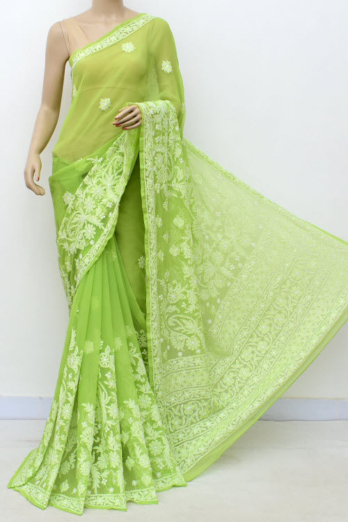 Green Hand Embroidered Lucknowi Chikankari Saree (Georgette-With Blouse) 14659