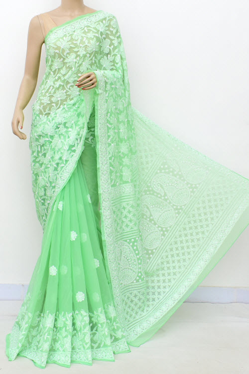 Lightgreen Hand Embroidered Lucknowi Chikankari Saree (Georgette-With Blouse) 17296