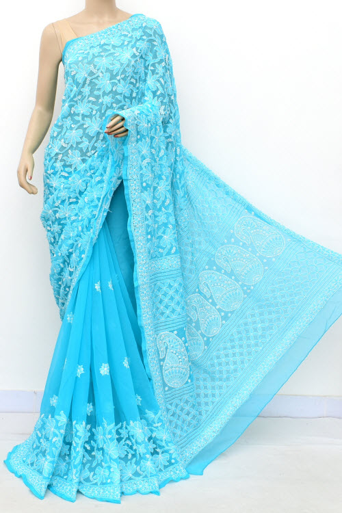 Blue Hand Embroidered Lucknowi Chikankari Saree (Georgette-With Blouse) 17298