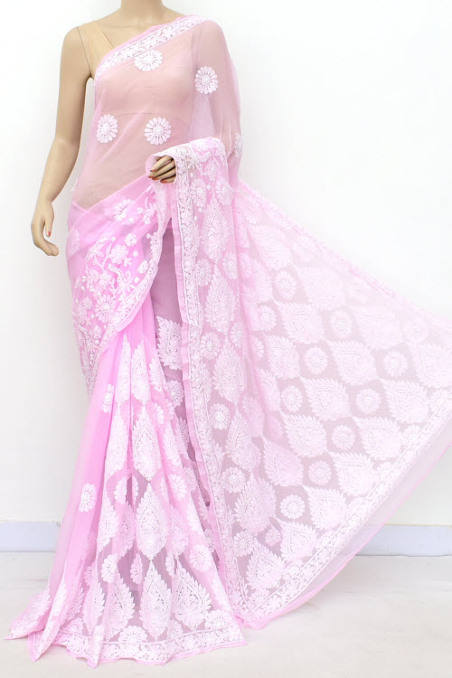 Pink Hand Embroidered Lucknowi Chikankari Saree (Georgette-With Blouse) 17303