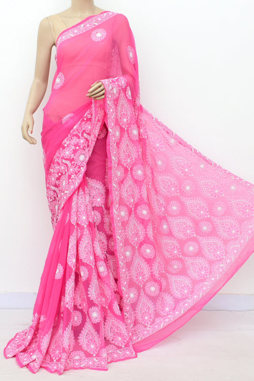 Pink Hand Embroidered Lucknowi Chikankari Saree (Georgette-With Blouse) 17305