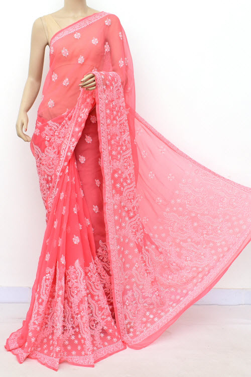Gazri Pink Hand Embroidered Lucknowi Chikankari Saree (georgette-with Blouse) 17312