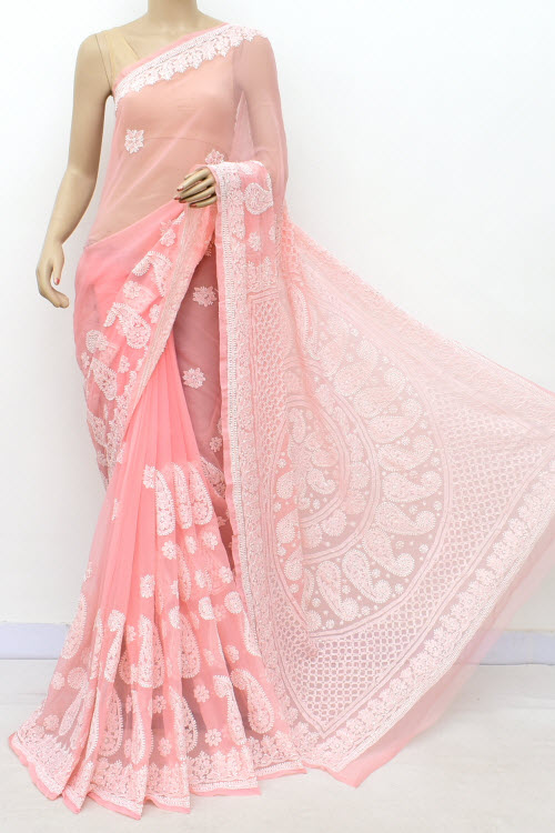 Lightpink Hand Embroidered Lucknowi Chikankari Saree (georgette-with Blouse) 17320