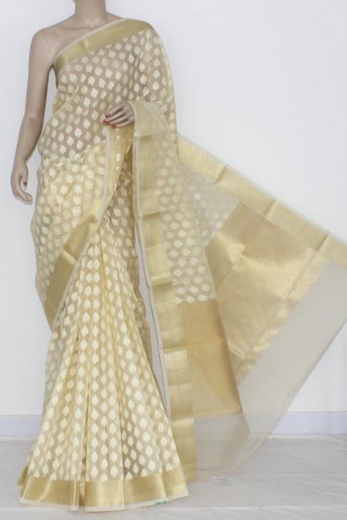 df52a6d65a1dc5 Off White Banarasi Kora Cot-Silk Printed Handloom Saree (With Blouse)  Golden Zari