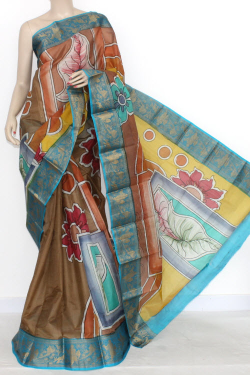 Copper Color Designer Hand-printed Bishnupuri Pure Silk Saree (with Blouse) Baluchari Border 16150