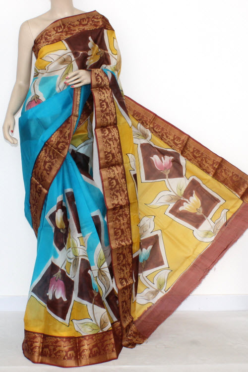 Pherozi Blue Designer Hand-Printed Bishnupuri Pure Silk Saree (With Blouse) Baluchari Border 16151