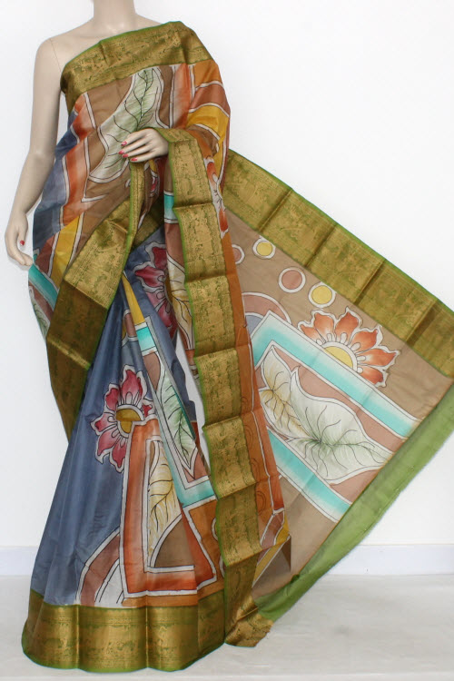 Blue Designer Hand-Printed Bishnupuri Pure Silk Saree (With Blouse) Baluchari Border 16152
