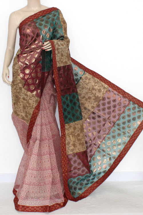 Red White Designer Supernet Embroidered Saree (with Blouse) Half-half 16161