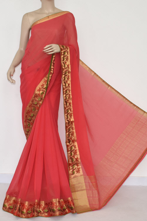 Red Handloom Semi-Chiffon Saree (with Blouse) Embroidery on Zari Border 16182